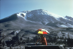 The Northern slope of  Mt St Helens bulges out as a hidden lava dome grows inside the volcano
