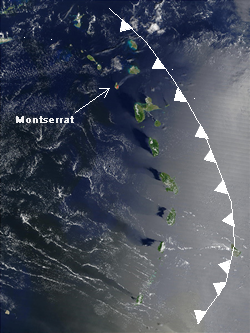 Antilles Island Arc with subduction zone in white