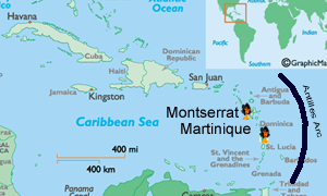 Caribbean Tectonic map showing Montserrat and Martiniqueon the Antilles volcanic arc