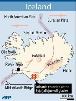 Iceland map of eruption