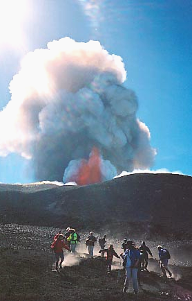 escape from Mt Etna eruption 2000
