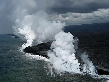 Lava Haze, Laze and VOG on the south coast of Hawaii as lava enters the sea. USGS