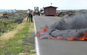 Lava flow crosses the coast road in Hawaii USGS