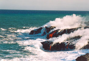 Lava flowing into the sea LKP