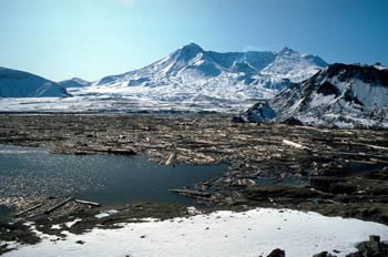 Debris on Spirit Lake with mt St Helens in the background USGS