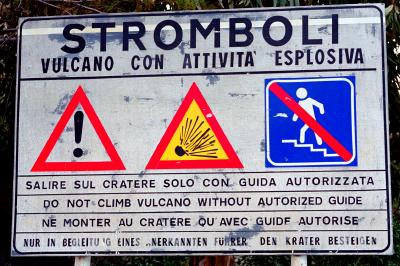 Stromboli warning sign