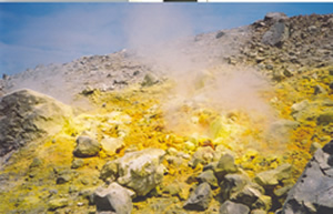 Sulphur deposits around a fumarole on Vulcano LKP